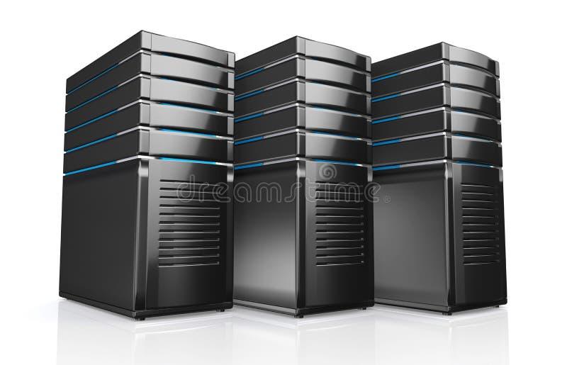 3d des serveurs de poste de travail de réseau illustration de vecteur