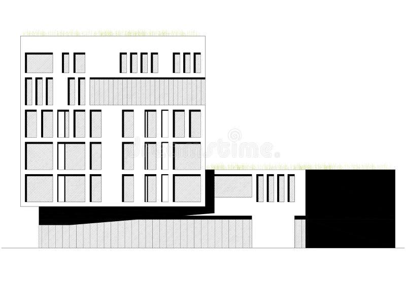 2D desenho - fachada da construção ilustração stock