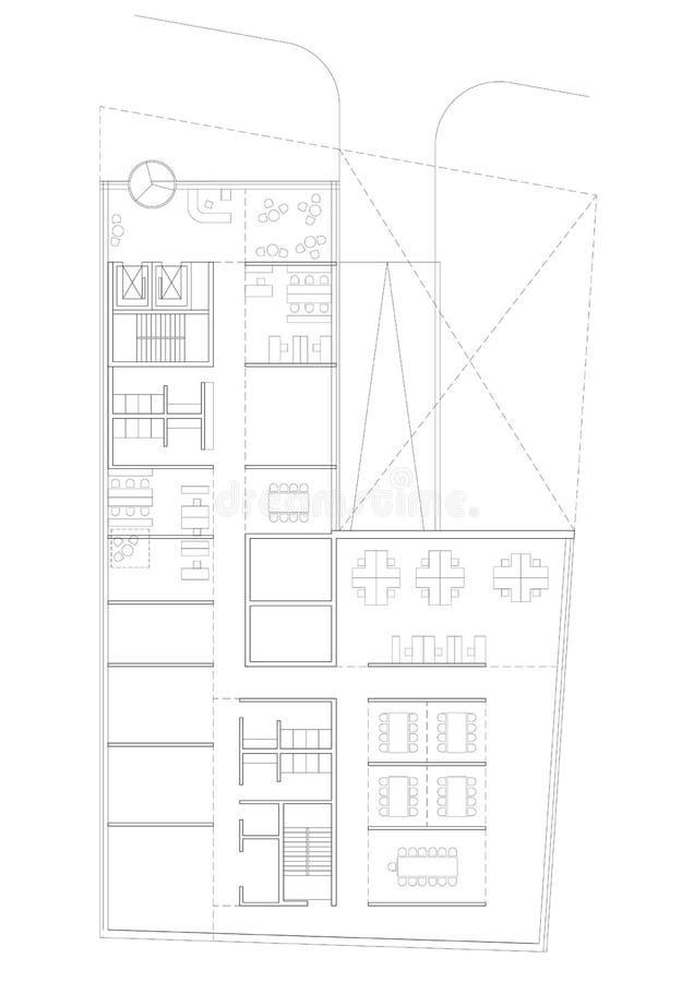 2D desenho - planta baixa da construção comercial ilustração do vetor
