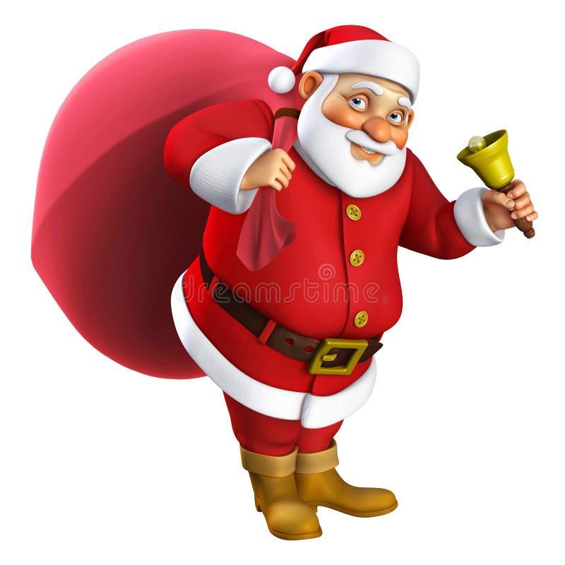 3d desenhos animados Santa ilustração stock