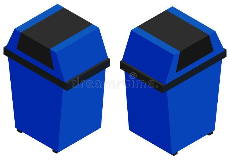 3D design for blue trashcan stock illustration