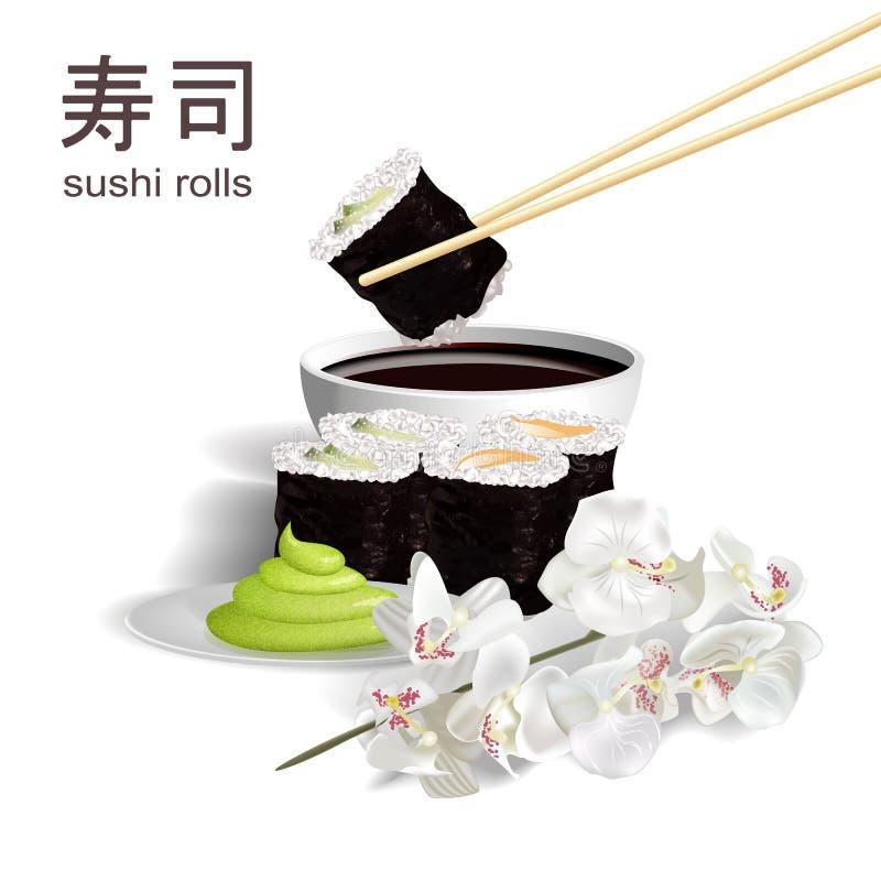 3D design concept, invitations, advertising, poster sushi restaurant. vector illustration