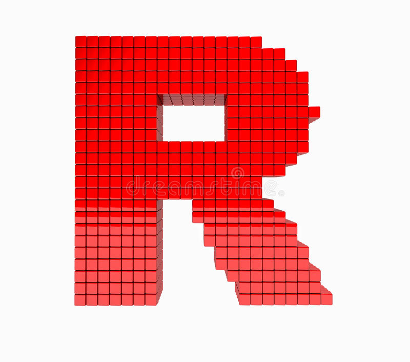 3D design the English alphabet red letter royalty free illustration