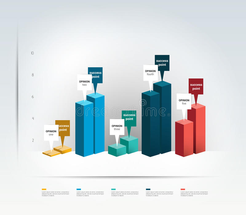 3D design graph. Infographics chart. Vector illustration stock illustration