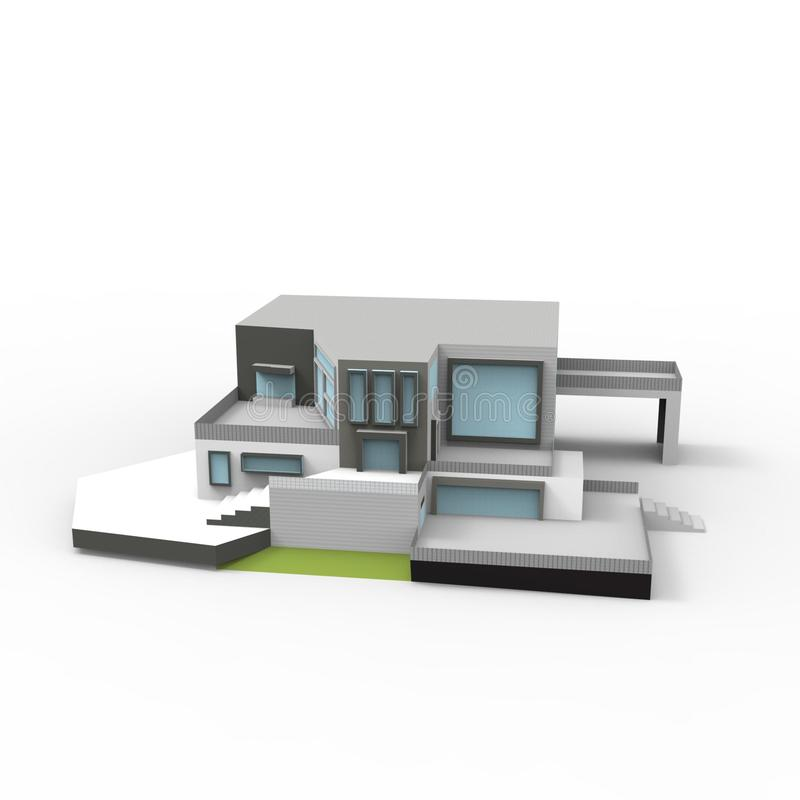 3D design of home space rendering results from the blender application vector illustration