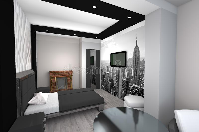 3D design modern bedroom stock illustration. Illustration of ...