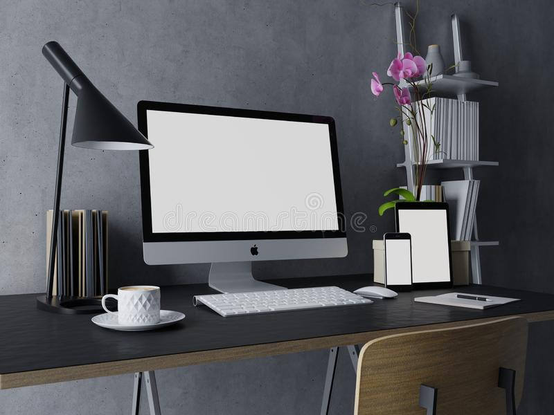 3d design of ready to use mock up template of empty white screen for your apps design preview on modern interior space with mac royalty free illustration