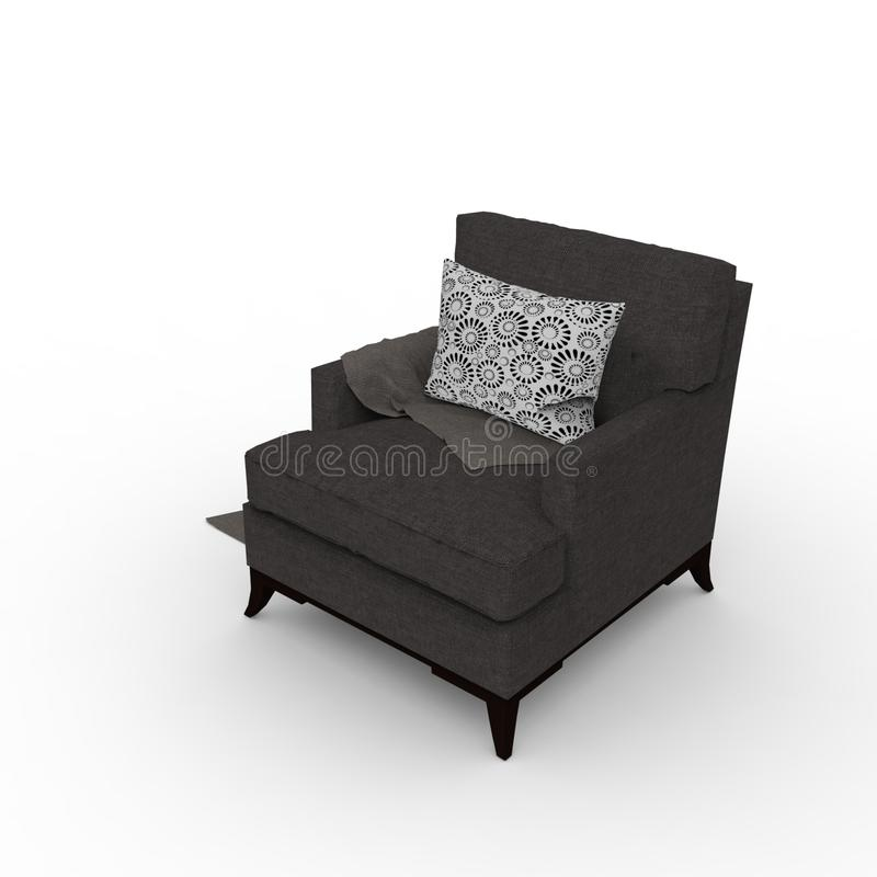 3D design of sofa rendering results from the blender application royalty free illustration