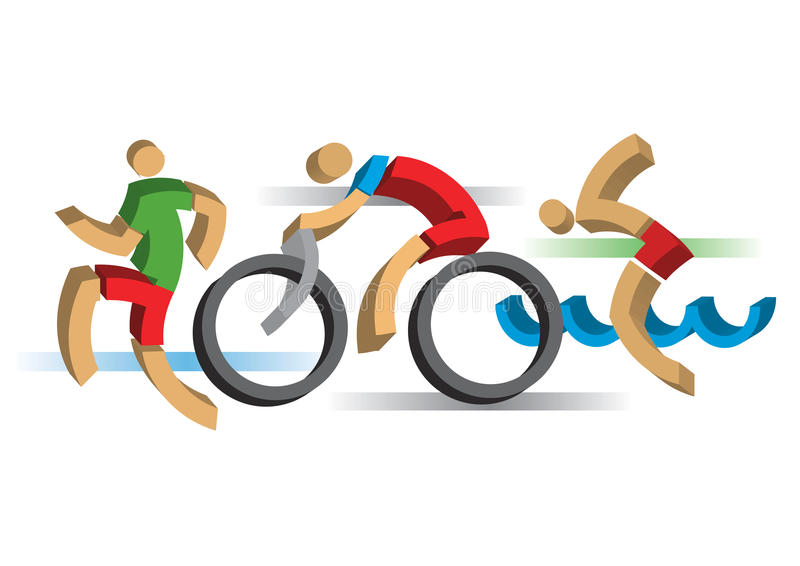 3D design stylized Triathlon athletes. Three 3D design stylized athletes symbolizing triathlon, swimming, running and cycling. Vector available stock illustration