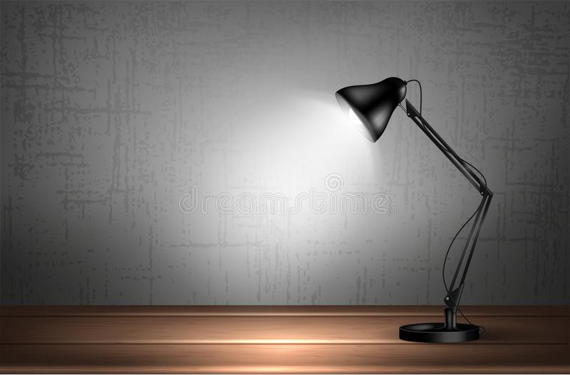 3d desk lamp on wooden table lights up empty wall. Vector illustration. Copy space for text template. stock illustration