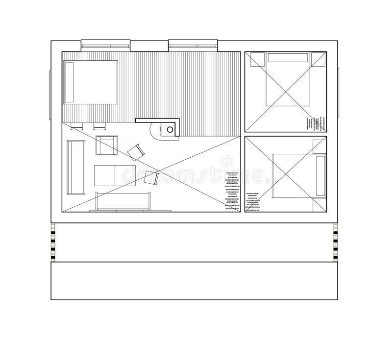 2D dessin - plan d'étage d'isolement de la maison unifamiliale illustration stock