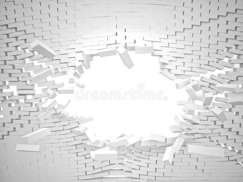 3d destruyen la pared de ladrillo stock de ilustración
