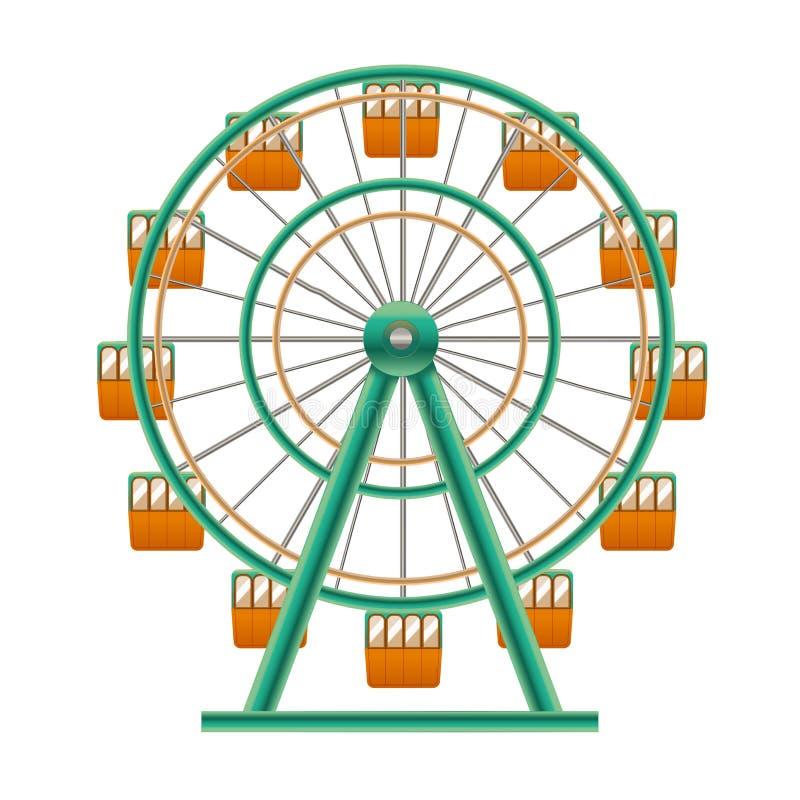 3d detallado realista Ferris Wheel Attraction Vector stock de ilustración