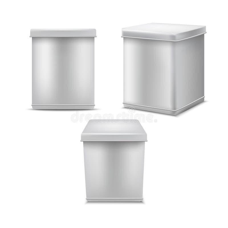 3d detallado realista Tin Can Template Mockup Set en blanco blanco Vector libre illustration