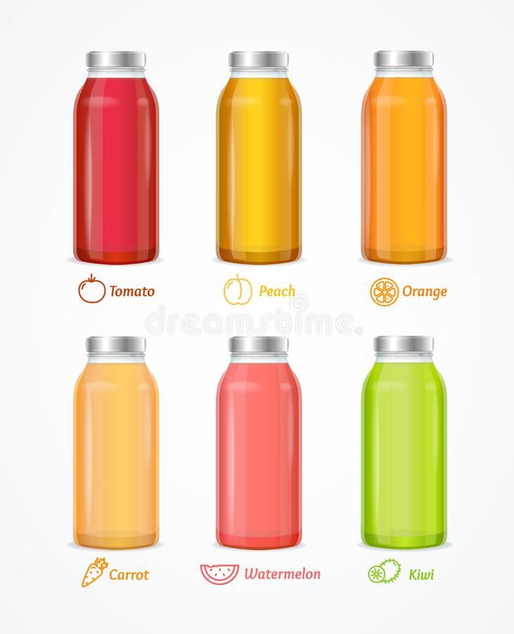 3d dettagliato realistico Juice Bottle Set differente Vettore royalty illustrazione gratis