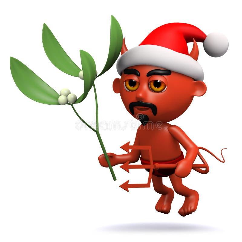 3d Devil has some Christmas mistletoe vector illustration