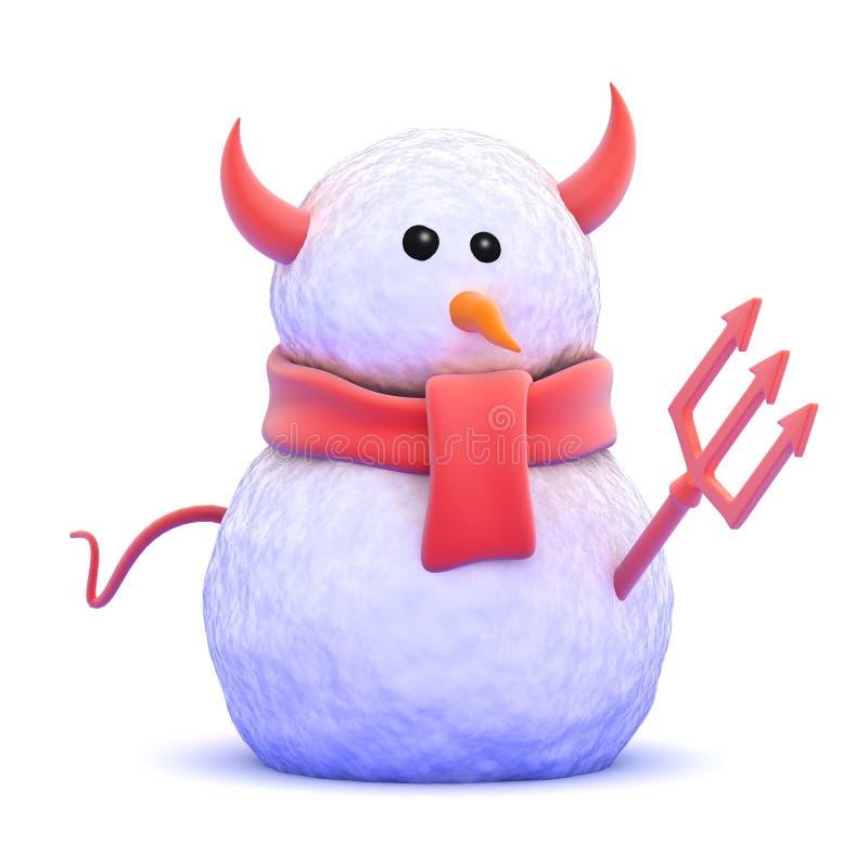 3d Devil snowman vector illustration