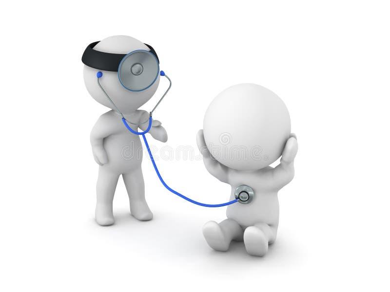 3D diagnosting患者的医生的例证 向量例证