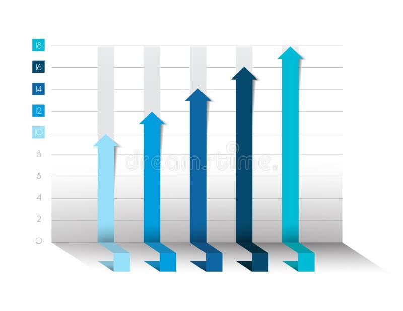 3D diagram, graf Blått färgar Infographics affärsbeståndsdelar royaltyfri illustrationer