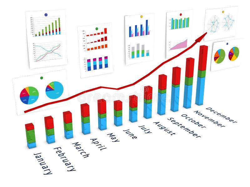 3d diagram met muur van grafieken en rode pijl vector illustratie