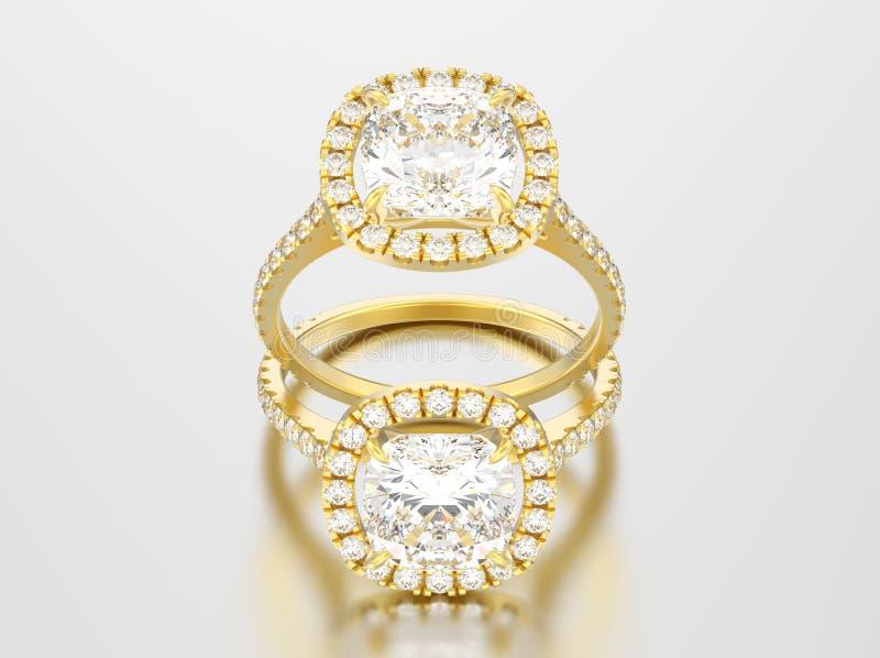 3D diamante rosa del cuscino di nozze di impegno dell'oro dell'illustrazione due illustrazione di stock