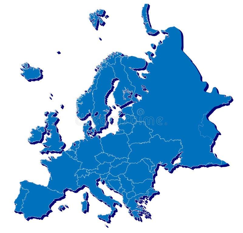 Europa-Karte in 3D lizenzfreie abbildung