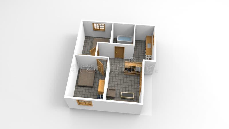 3D die Modern minimalistisch huisplan teruggeven geïsoleerd stock foto