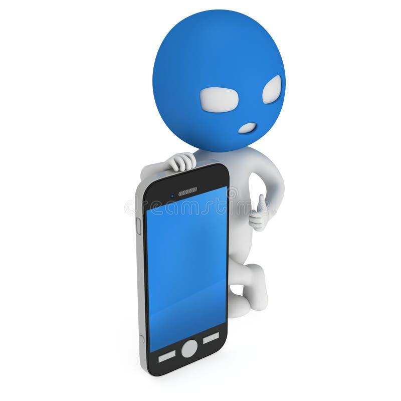 3d dief met smartphone royalty-vrije illustratie