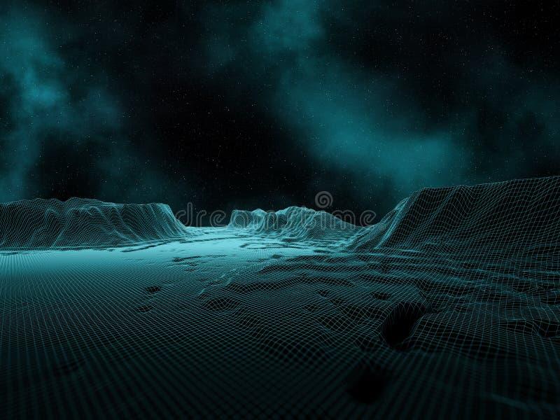 3D digitaal landschap met ruimtehemel en nevel royalty-vrije illustratie