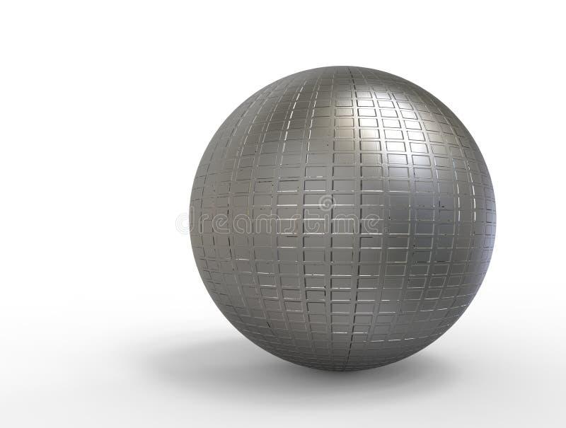 3D digitais rendem da esfera com reflexão ilustração stock