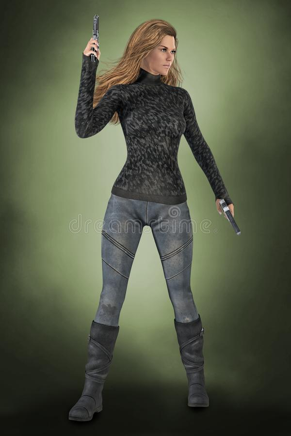 Strong assertive woman holding two guns in a ready for action pose. 3D digital illustrated render of a strong assertive woman holding two guns in ready to fight stock illustration