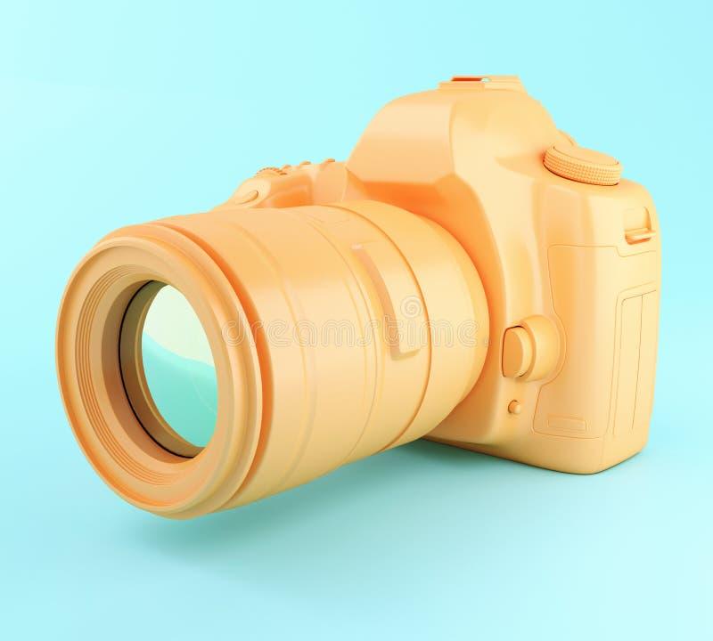 3D Digital orange photo camera. stock illustration
