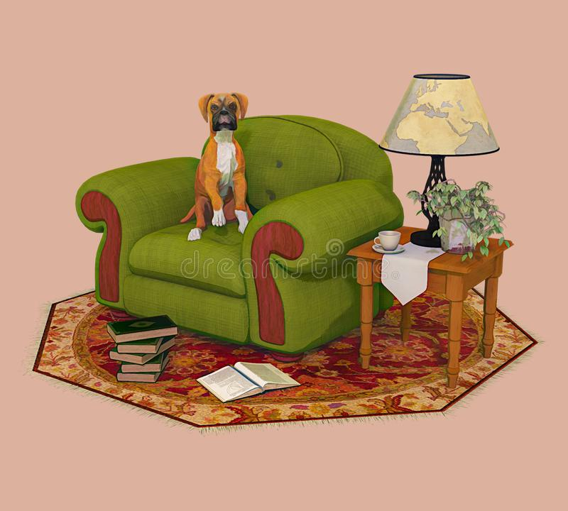 Boxer Dog Puppy and Chair Illustration vector illustration