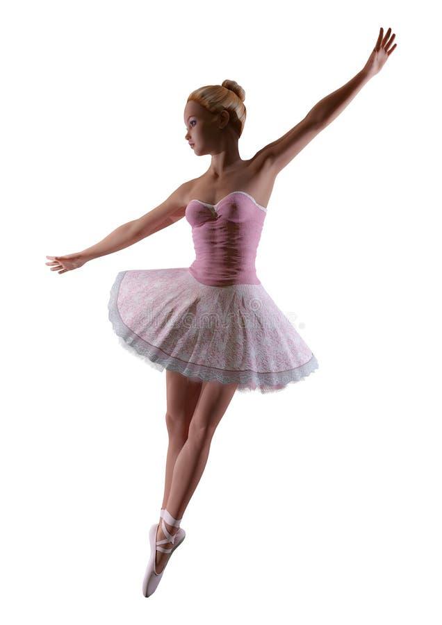 3D Rendering Ballerina on White royalty free illustration