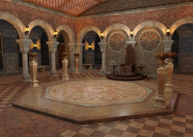 3D Rendering Throne Room royalty free stock photo