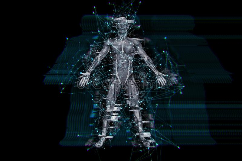3D digital technology background with glitch effect on male medical figure. 3D render of a digital technology background with glitch effect on male medical stock illustration