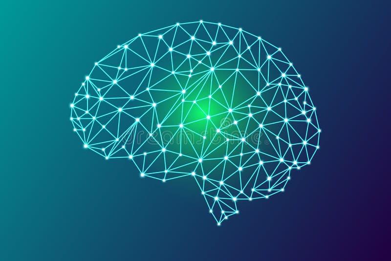3d digitale menselijke hersenen vector illustratie