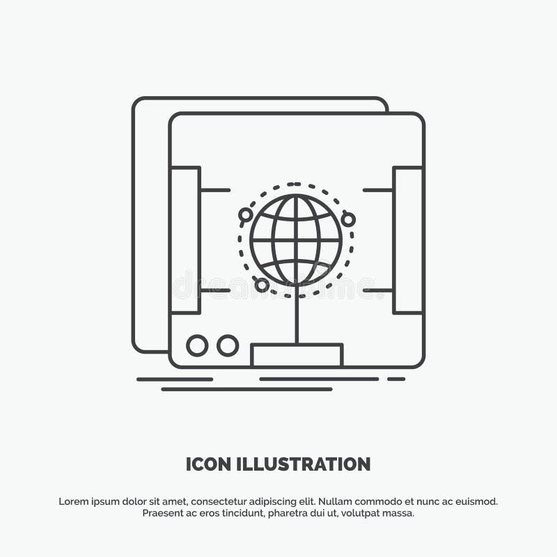 3d, dimensionaal, holografisch, aftasten, scannerpictogram Lijn vector grijs symbool voor UI en UX, website of mobiele toepassing vector illustratie