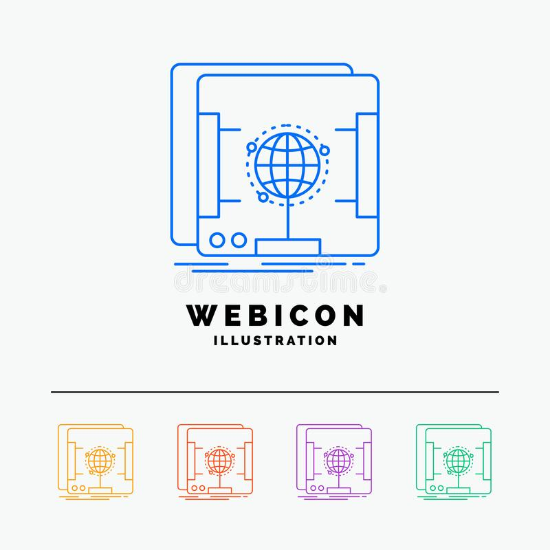 3d, dimensional, holographic, scan, scanner 5 Color Line Web Icon Template isolated on white. Vector illustration. Vector EPS10 Abstract Template background royalty free illustration