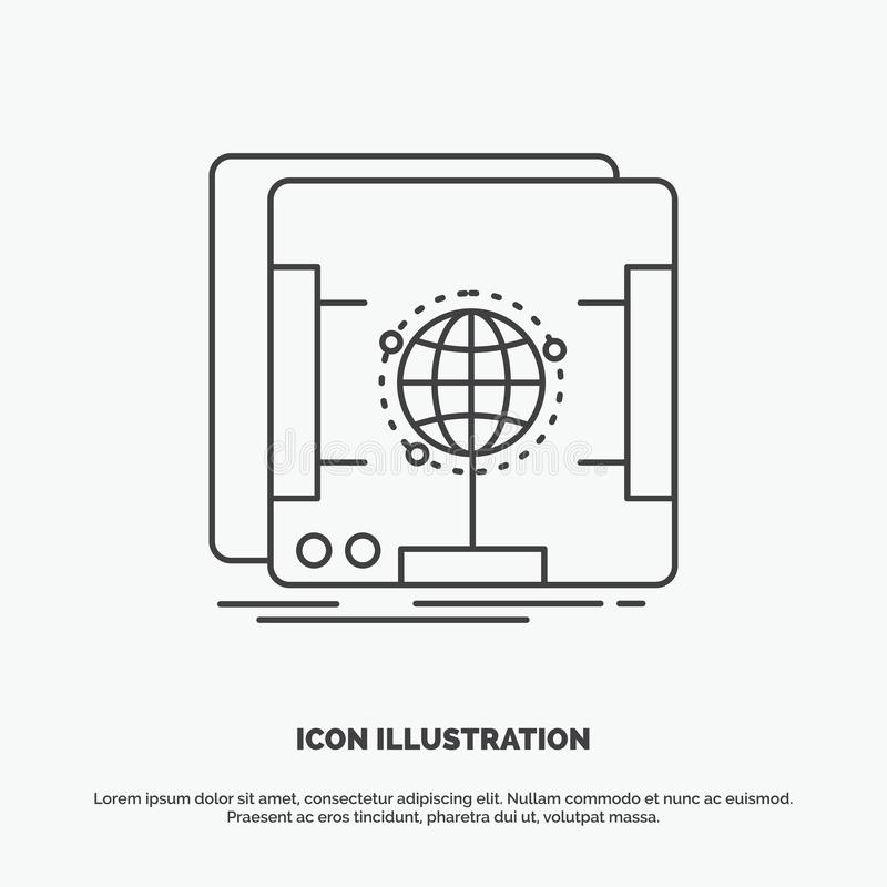 3d, dimensional, holographic, scan, scanner Icon. Line vector gray symbol for UI and UX, website or mobile application. Vector EPS10 Abstract Template vector illustration