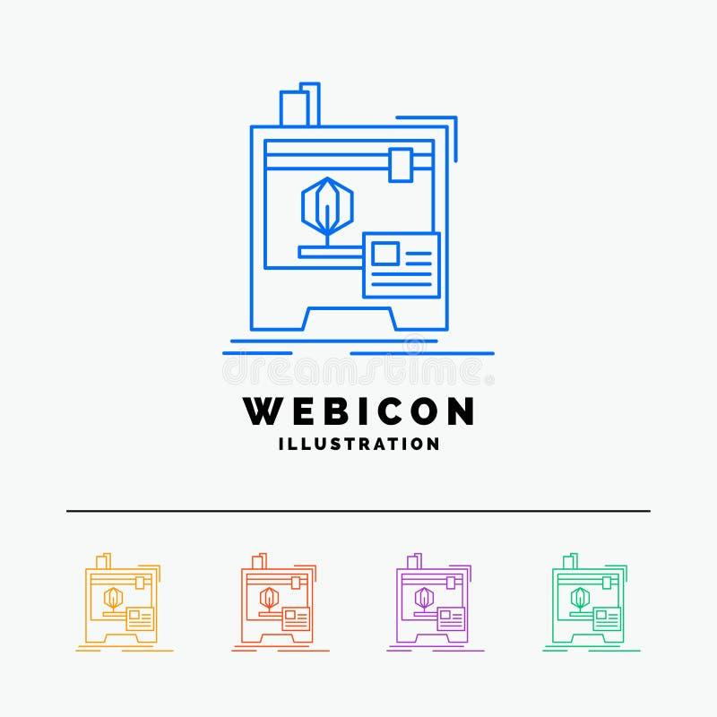 3d, dimensional, máquina, impressora, imprimindo a linha de cor 5 molde do ícone da Web isolado no branco Ilustra??o do vetor ilustração do vetor