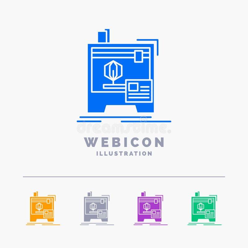 3d, dimensional, máquina, impressora, imprimindo o molde do ícone da Web do Glyph de 5 cores isolado no branco Ilustra??o do veto ilustração stock