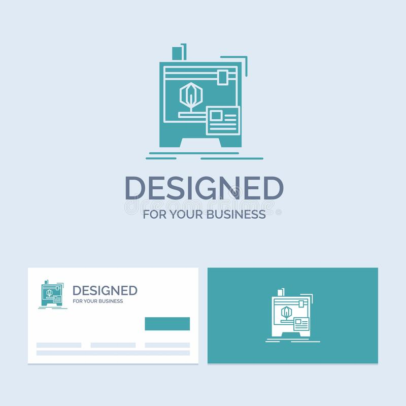 3d, dimensional, máquina, impressora, negócio de impressão Logo Glyph Icon Symbol para seu negócio Cart?es de turquesa com tipo ilustração stock