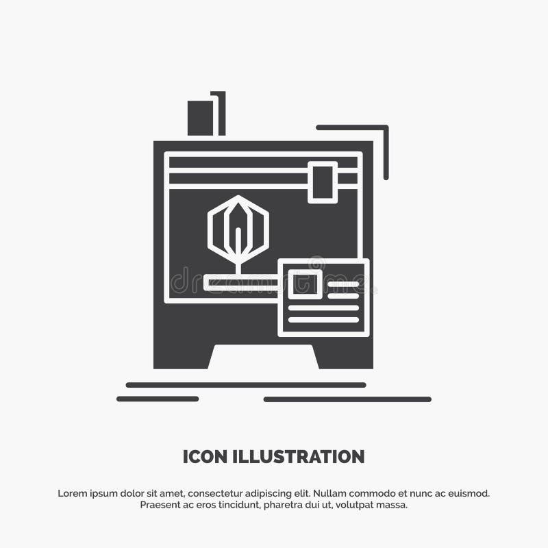 3d, dimensional, m?quina, impressora, ?cone da impress?o s?mbolo cinzento do vetor do glyph para UI e UX, Web site ou aplica??o m ilustração royalty free