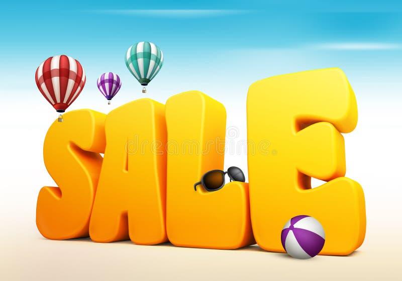 3D Dimensional Sale Title Words for Summer vector illustration