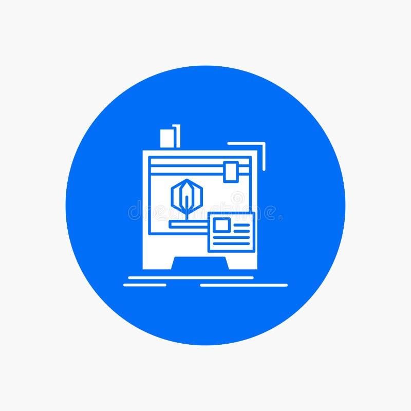 3d, dimensionale, macchina, stampante, icona bianca di glifo di stampa nel cerchio Illustrazione del bottone di vettore illustrazione di stock