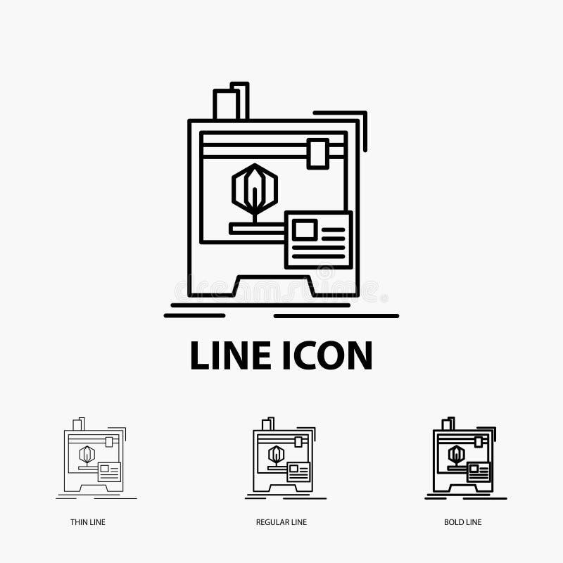 3d, dimensionale, macchina, stampante, icona di stampa nella linea stile sottile, regolare ed audace Illustrazione di vettore illustrazione vettoriale
