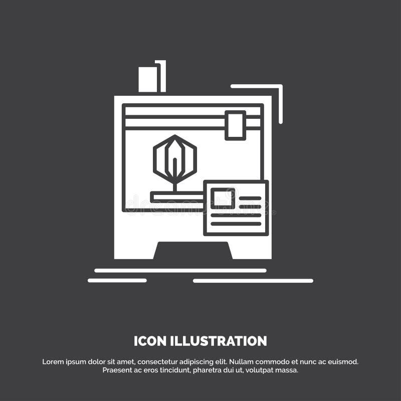 3d, dimensionale, macchina, stampante, icona di stampa r royalty illustrazione gratis
