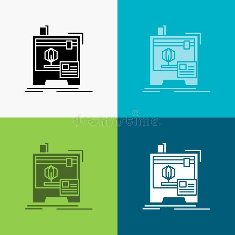 3d, dimensionale, macchina, stampante, icona di stampa sopra vario fondo progettazione di stile di glifo, progettata per il web e illustrazione vettoriale
