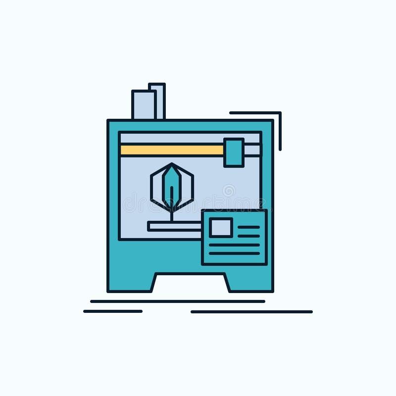 3d, dimensionale, macchina, stampante, icona piana di stampa segno e simboli verdi e gialli per il sito Web e il appliation mobil illustrazione di stock